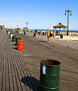Pails Prints - On the Coney Island Boardwalk Print by Madeline Ellis
