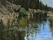 Fly Fisherman Posters - On the Deadwood River Poster by Les Herman