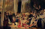 Flags Paintings - On the deck during a sea battle by Francois Auguste Biard