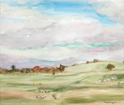 Rolling Mixed Media - On the Downs by Nancy Brennand