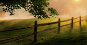 New England Sunrise Acrylic Prints - On the fence Acrylic Print by Bill  Wakeley