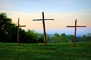 Christ On Cross Photos - On the Hill by Cricket Hackmann