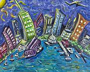 Nyc Skyline Paintings - On The Hudson by Jason Gluskin
