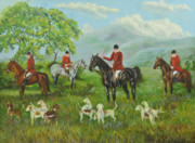 Horse And Riders Posters - On The Hunt Poster by Charlotte Blanchard
