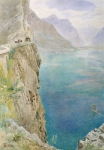 Cliffs Paintings - On the Italian Coast by Harry Goodwin