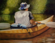 Canoe Pastels Prints - On the Kickapoo Print by Marcia  Hero