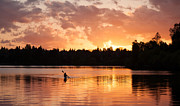 Sunset Prints - On the Lake Print by Mike Reid