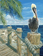 Pelican Painting Originals - On the Lookout by Danielle  Perry