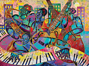 Black Painting Originals - On The Main Stage by Larry Poncho Brown