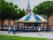 Carousel Painting Originals - On The Mall by Robert Rohrich