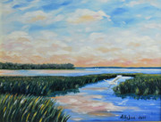 Egret Painting Originals - On The May River by Stanton Allaben
