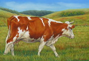 Ranch Pastels Prints - On The Moove Print by Margaret Stockdale