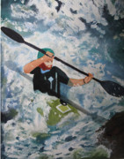 White Water Rafting Paintings - On the New by Sandy McIntire