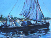 Reflections In River Pastels Prints - On the Nile Print by Joan  Jones