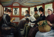 Tram Painting Framed Prints - On the Omnibus Framed Print by Maurice Delondre