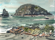 Goat Painting Originals - On the Oregon Coast by Donald Maier