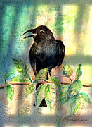 Crows Painting Posters - On The Outside Looking In Poster by Arline Wagner