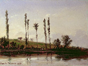 Reflecting Water Prints - On the Outskirts of Paris Print by Camille Pissarro