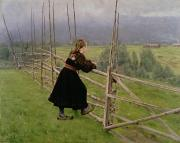 Fencing Paintings - On the Plain by Karl Fredrick Nordstrom