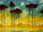 Tree Art Paintings - On the Pond by MADART by Megan Duncanson