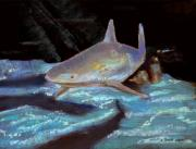 Sharks Pastels Posters - On The Prowl Poster by Arline Wagner