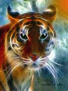 Tiger Pyrography Posters - On The Prowl Poster by Madeline M Allen