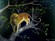 On A Branch Paintings - On the Prowl by Mary Kaser