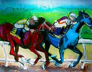 Kentucky Derby Painting Originals - On the Rail by Les Leffingwell