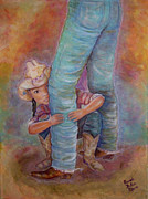 Brown Boots Painting Originals - On The Range by Brenda Dulan Moore