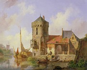 Boats On Water Prints - On the Rhine Print by Cornelius Springer