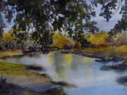 Overhanging Paintings - On the river bank by Barbi Vandewalle
