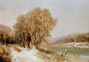 Winter Scenes Prints - On the River Neckar near Heidelberg Print by Joseph Paul Pettit