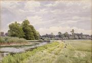 English Watercolor Paintings - On the River Ouse Hemingford Grey by William Fraser Garden