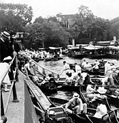 Vintage River Scenes Photos - On The River Thames - waiting for the locks to open - c 1902 by International  Images