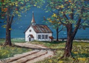 Gouache Paintings - On the Road Home by Raymond Edmonds