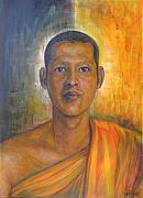 Buddhist Monk Paintings - On The Road To  A Virtue by Sukalya Chearanantana