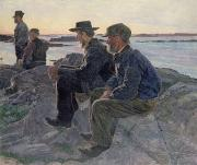 Wilhelm Framed Prints - On the Rocks at Fiskebackskil Framed Print by Carl Wilhelm Wilhelmson