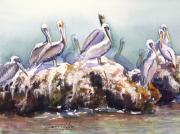 Flock Of Birds Painting Metal Prints - On The Rocks Metal Print by Dorothy Harrison Braun