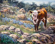 Country Western Paintings - On the Rocks by J P Childress