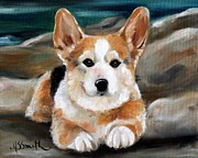 Corgis Framed Prints - On the Rocks Framed Print by Mary Sparrow Smith