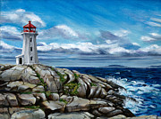 Darlene Watters Framed Prints - On the Rocks Peggys Cove Framed Print by Darlene Watters