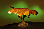 Fox Sculpture Posters - On the run Poster by Monte Burzynski