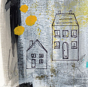 Yellow Mixed Media Prints - On The Same Street Print by Linda Woods