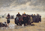 Fishermen Posters - On the Shore Poster by Jacques Eugene Feyen