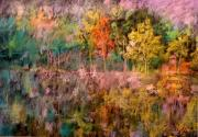Demeter Gui Art - On the Shores of a Lake in the Fall by Demeter Gui