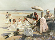 Children At Beach Prints - On the Shores of Bognor Regis Print by Alexander M Rossi