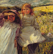Little Girls Prints - On the Stile Print by Frederick Stead