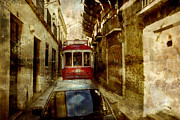 Tram Mixed Media Framed Prints - On the streets of Lisbon Framed Print by Dariusz Gudowicz