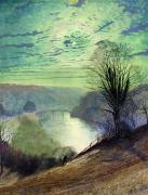Full Moon Paintings - On the Tees near Barnard Castle by John Atkinson Grimshaw
