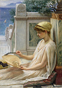Ancient Woman Framed Prints - On the Terrace Framed Print by Sir Edward John Poynter